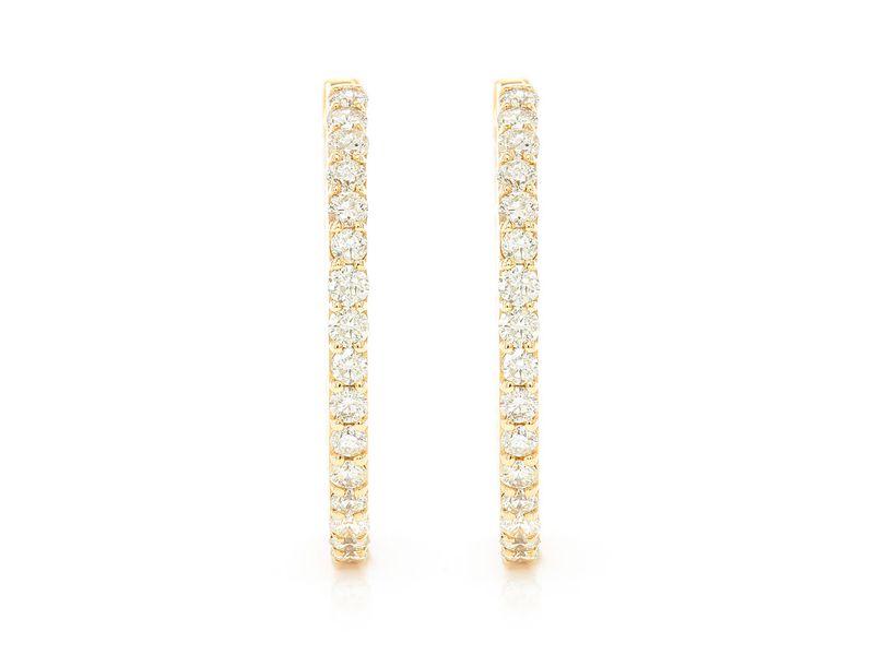 Addie Hoops One Row Earrings 14K   1.62ctw