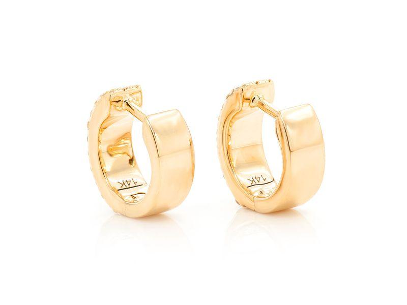 3 Row Huggie Hoop Earrings 14K   0.25ctw
