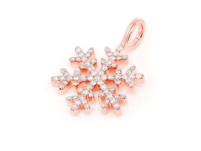 Diamond Snowflake Pendant 14K  0.40ctw