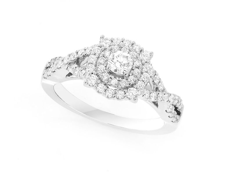 Fancy & Round Double Halo W/ Twisted Shank Ring 14K   0.74ctw