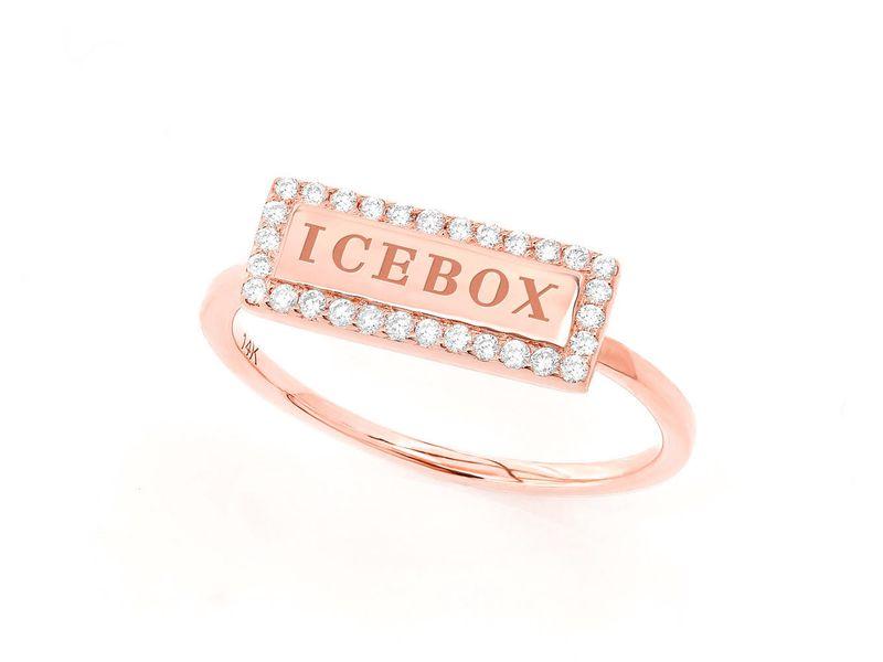 Icebox Bar Diamond Border Promise Collection Ring 14K   0.15ctw