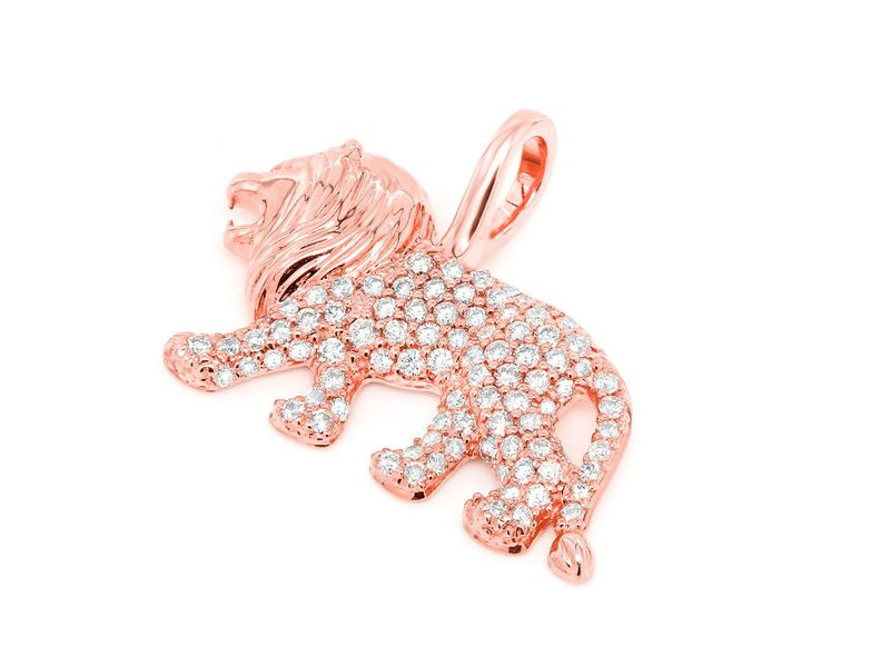 Lion Walking Madly Pendant 14K   0.67ctw