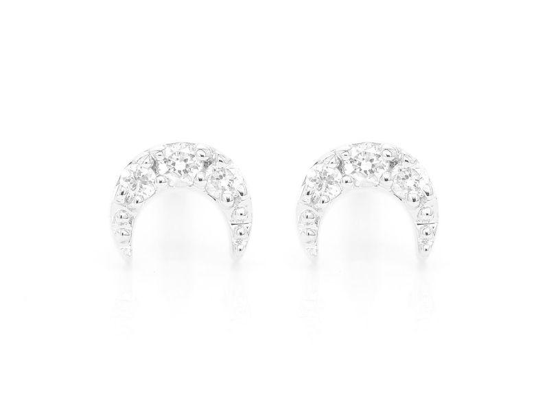 Moon Stud  Earrings 14K   0.04ctw