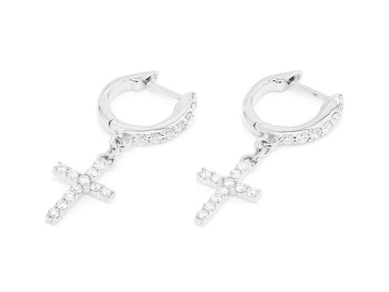 Seneca Cross Huggie Hoop  Earrings 14K   .30ct