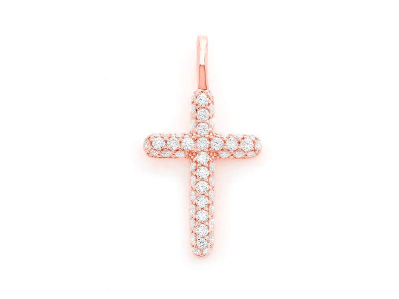 Bubbly Cross Pendant 14K   0.50ctw