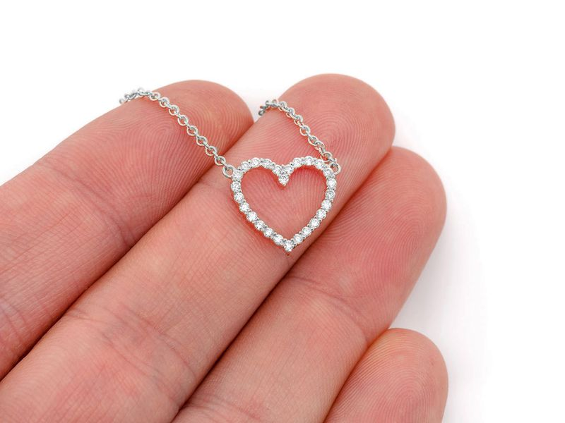 Medium Dainty Heart Pendant 14K  0.30ctw