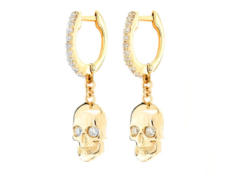 Skull Huggie Dangling Earrings 14K   0.30ctw