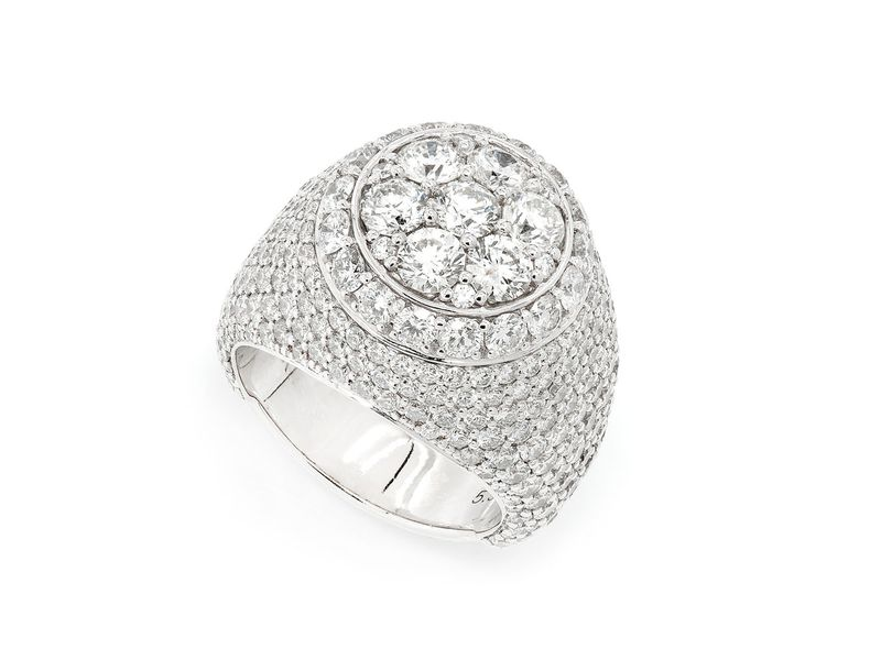Halo Cluster Ring 14K   7.29ctw