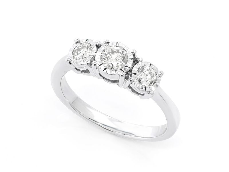 3 Stone Miracle Ring 14K   0.50ctw