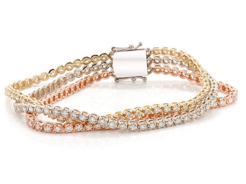 3 Row Diamond Bracelet 14K   5.11ctw