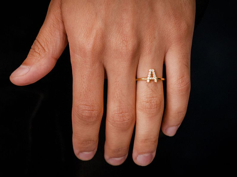 Alphabet Letter Ring 14K   0.20ctw
