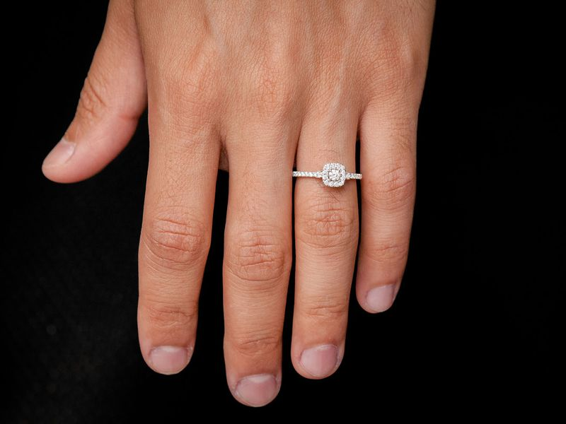 Single Band Double Layer Engagement Ring 14K   0.50ctw