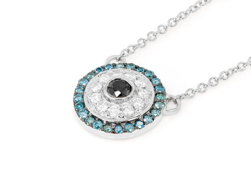 Round Evil Eye Mica Collection Necklace Pendant 14K   0.29ctw
