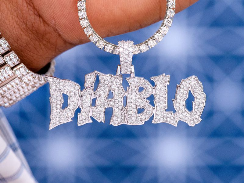 Custom Freaky Letters Diamond Pendant 14K