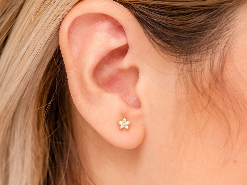 Five Point Star Earrings 14K   0.06ctw