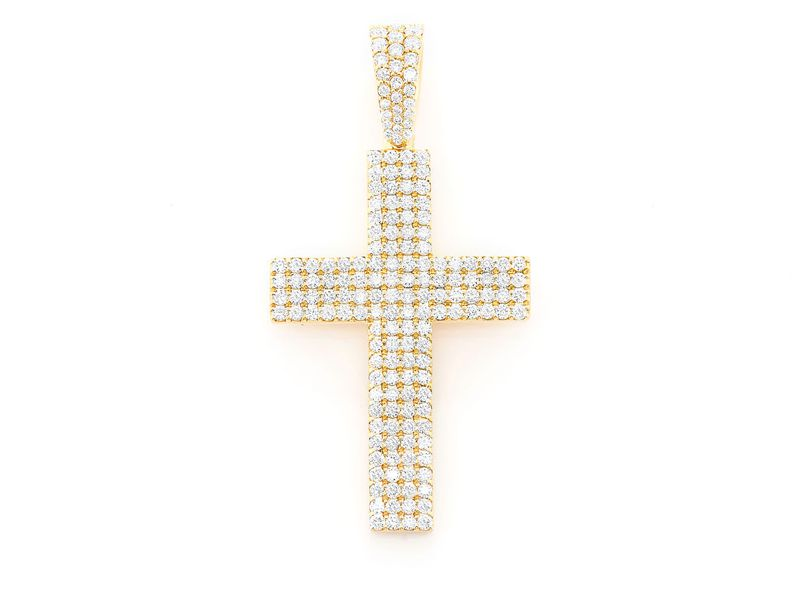 Pius Four Row Cross Pendant 14K   1.19ctw