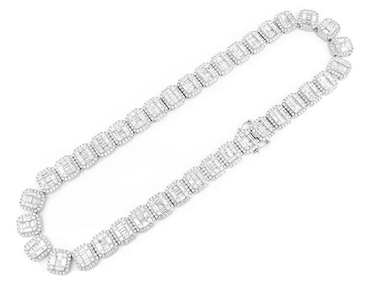 Round & Baguette Rectangle Link Necklace 14K   49.75ctw