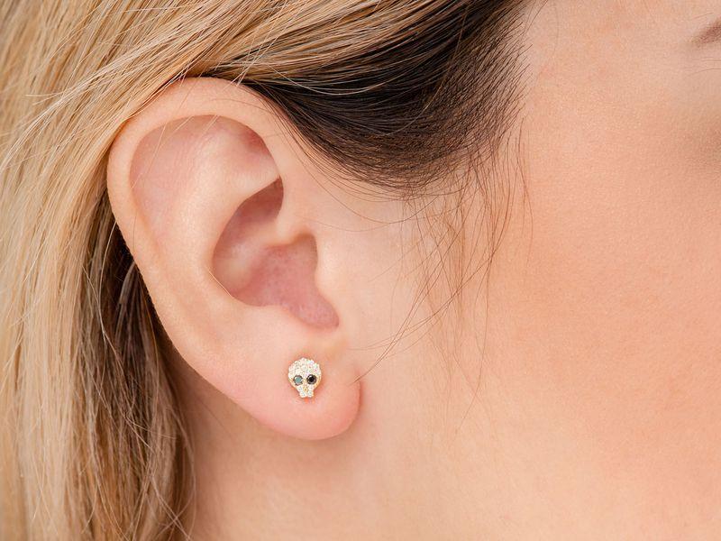 Skull Stud Earrings 14K   0.27ctw