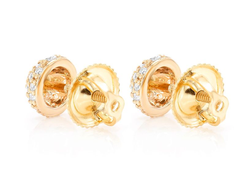 Dome Pave Earrings 14K   0.44ctw