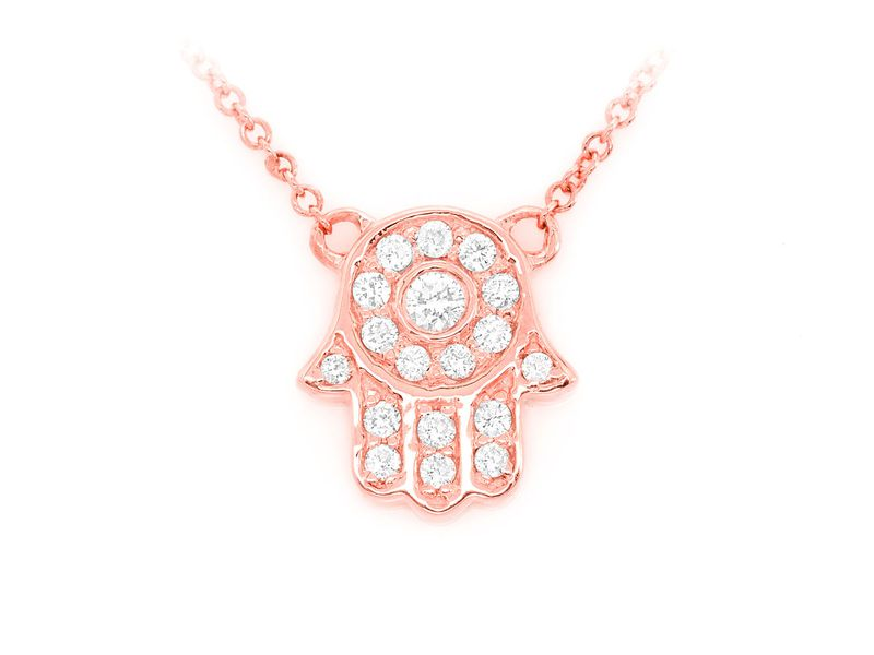 Hamsa Icon Bezel Center Mica Collection Pendant 14K   0.16ctw