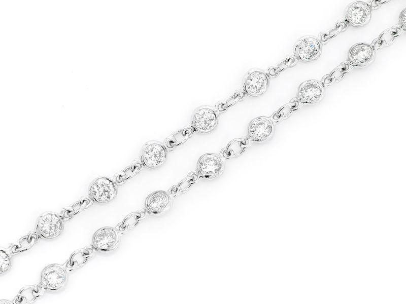 Eternity Round Bezel Set Necklace 14K   3.25ctw