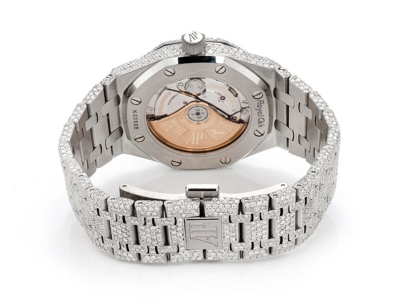 Pre-owned Audemars Piguet Royal Oak 37mm St.Steel  ICED OUT