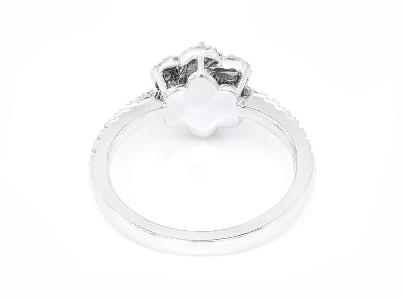 Single Band Three Layer Flower Engagement Ring 14K   0.48ctw