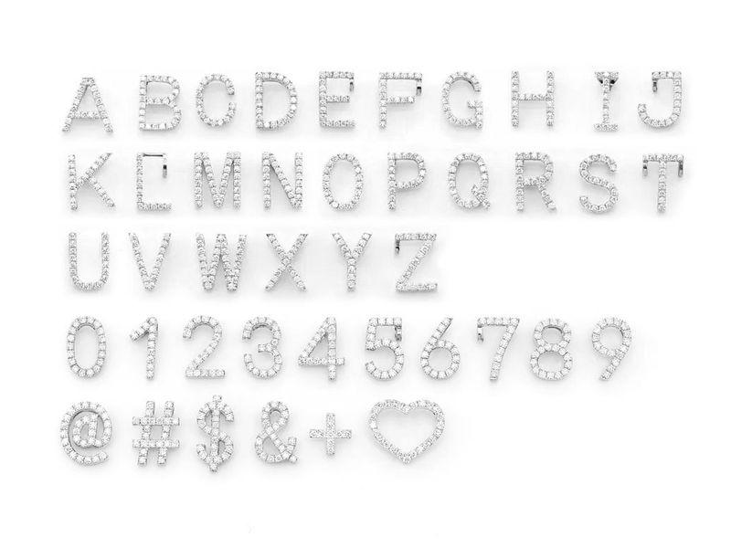 Diamond Letter Pendant 14K   0.10ctw