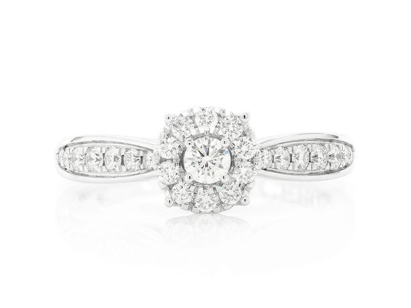 Double Layer Round Engagement Ring 14K   0.48ctw