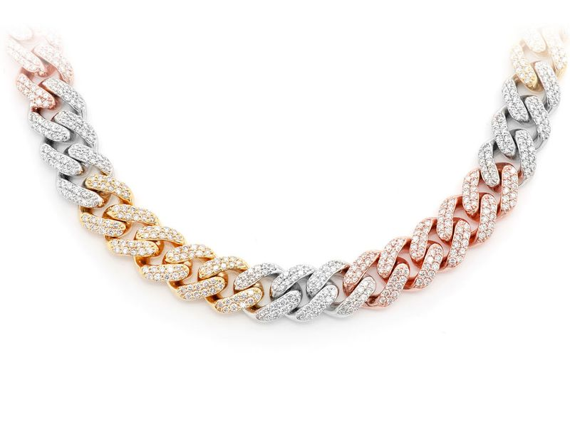 8mm Diamond Miami Cuban Necklace 14K   11.91ctw