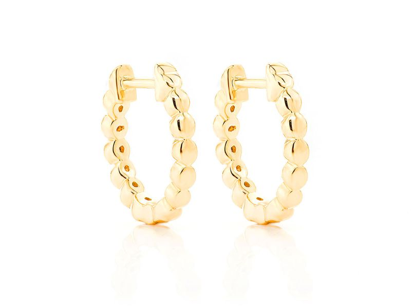 Ahdel Bezel Hoop Earrings 14K   0.12ctw