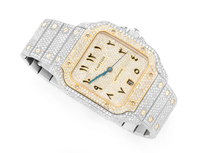 Cartier Yellow Face Watch 18K/SS  21.50ctw