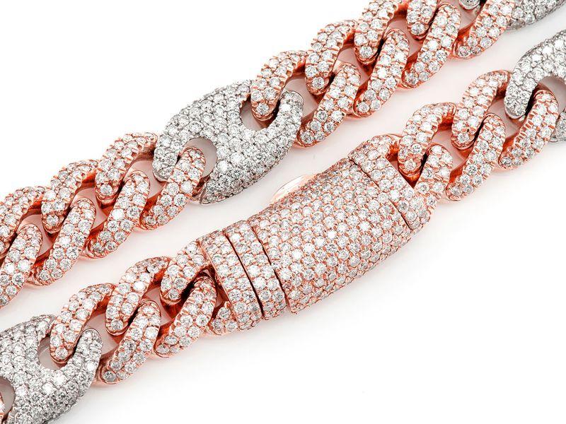 Cuban Mariner Diamond Necklace 14K   38.25ctw