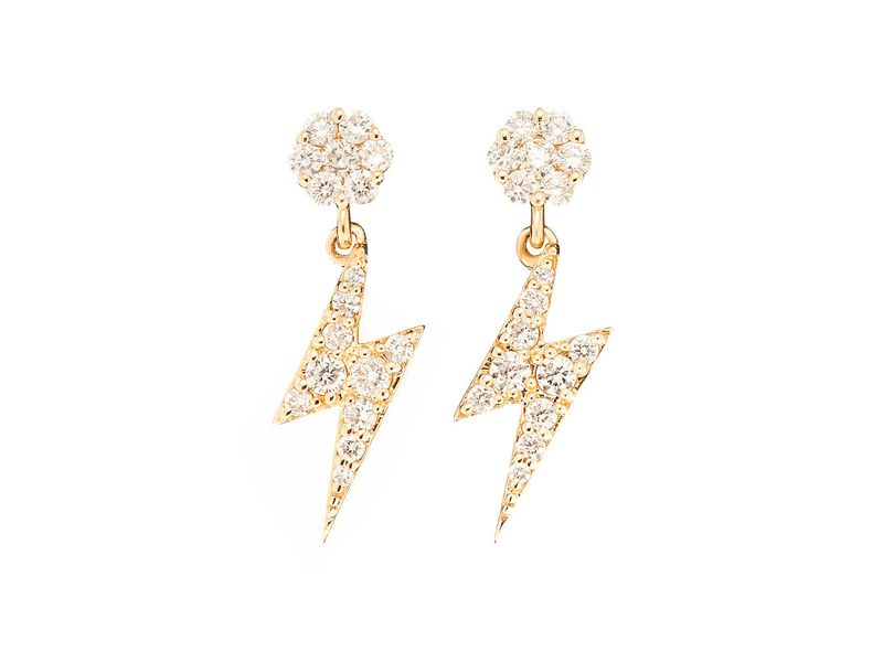 Icebox Dangling Lightning Bolt Earrings 14k Yellow Gold 0 59ctw