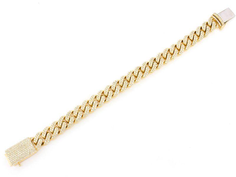 12mm Cuban Bracelet 14K   7.50ctw