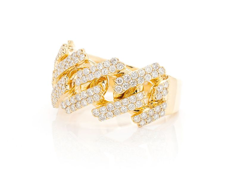 Jagged Edge Cuban Ring 14K   1.45ctw
