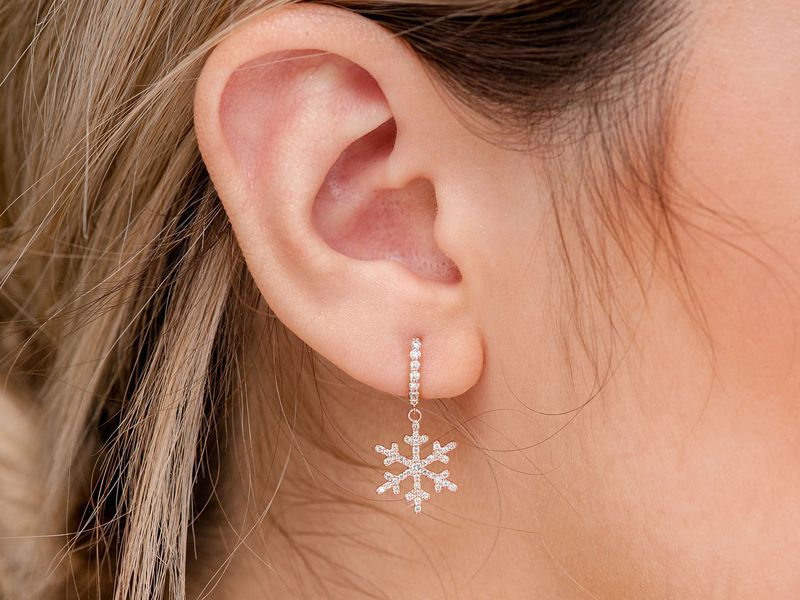 Snowflake Huggie Earrings 14K   0.50ctw