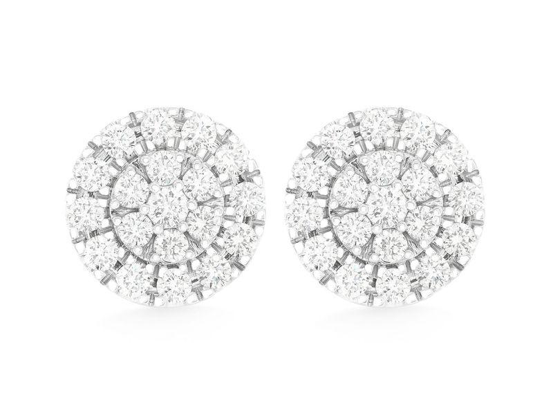 Round Cluster Earrings 14K   1.37ctw