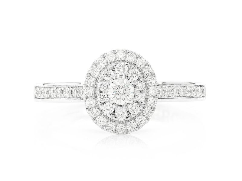 Three Layer Oval Engagement Ring 14K   0.47ctw
