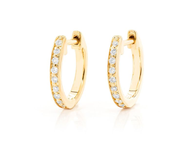 1 Row Hoop Earrings 14K   0.11ctw