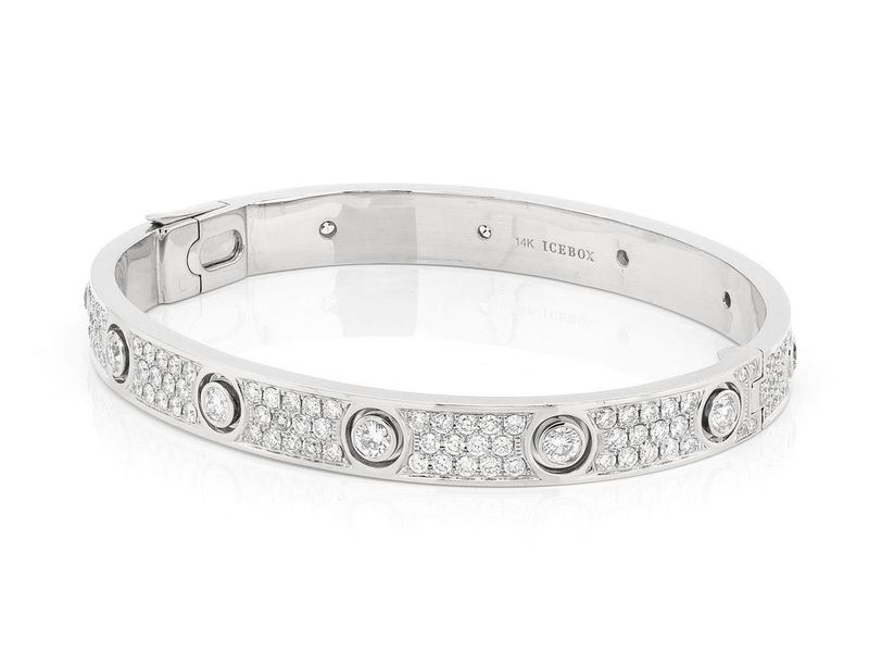 Large Signature Bangle Full Diamond Bracelet 14K   5.75ctw