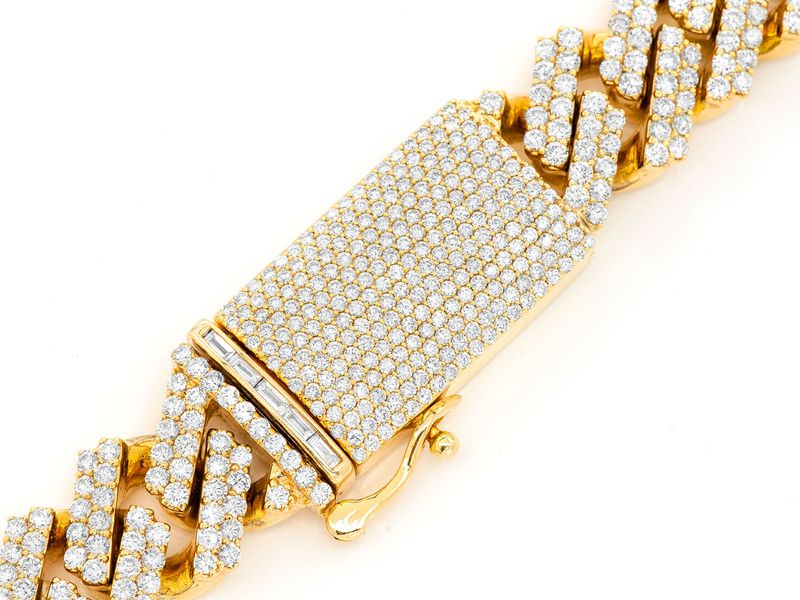16mm Raised Diamond Cuban Necklace 14K   52.79ctw