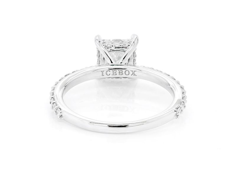 Princess Cut Under Halo Engagement Ring 18K   1.64ctw