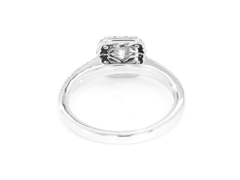 Square Halo Engagement  Ring 18K   0.98ctw