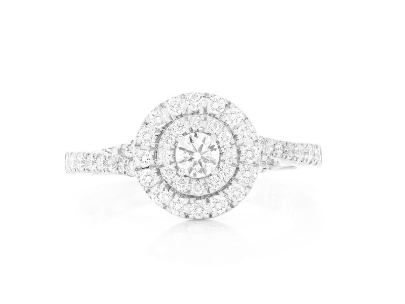 Round Double Halo Ring 14K   0.75ctw