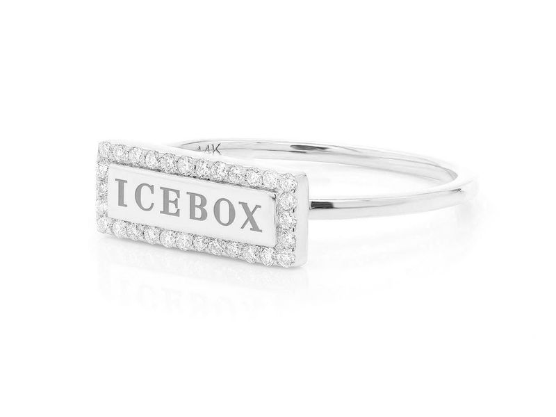 Icebox Bar Logo Ring 14K   0.15ctw