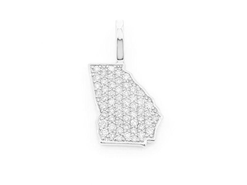 Diamond Georgia State Pendant 14K   0.22ctw