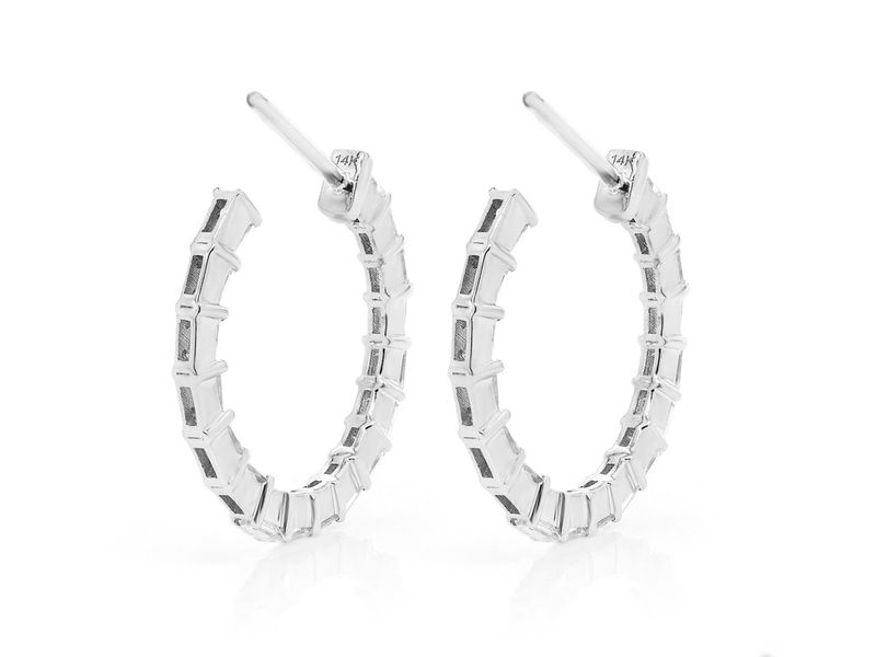 Baguette Hoop Earrings 14K   0.79ctw