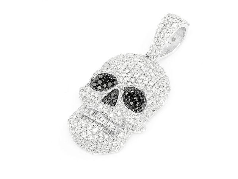 Baguette Teeth Skull Pendant 14K   5.14ctw