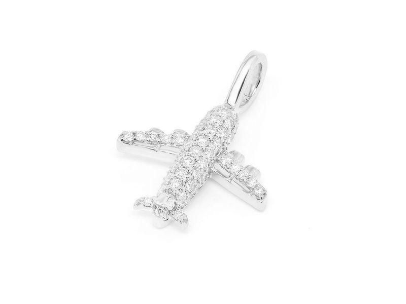 Diamond Airplane Pendant 14K   0.40ctw